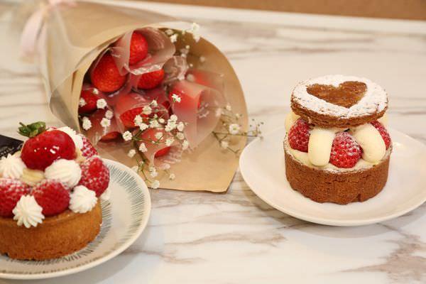 [台南]東區 情人節禮物推薦 韓國草莓花束台南也買的到拉~ 冬天季節限定草莓塔情人組合!!!! 格那修ganache手作蛋糕